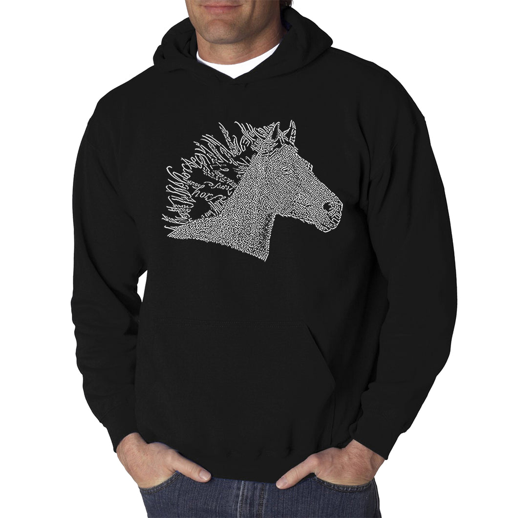 LA Pop Art Men's Word Art Hooded Sweatshirt - Horse Mane