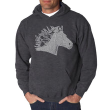Load image into Gallery viewer, LA Pop Art Men's Word Art Hooded Sweatshirt - Horse Mane