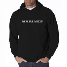 Load image into Gallery viewer, LA Pop Art Men's Word Art Hooded Sweatshirt - LYRICS TO THE MARINES HYMN