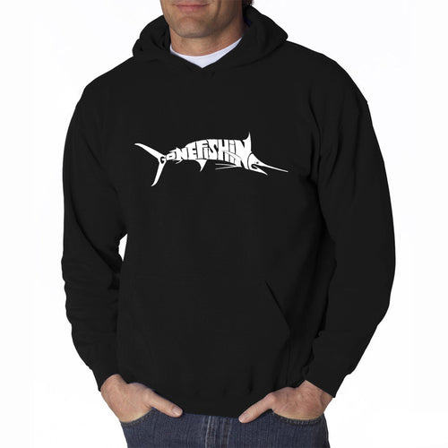 LA Pop Art Men's Word Art Hooded Sweatshirt - Marlin - Gone Fishing