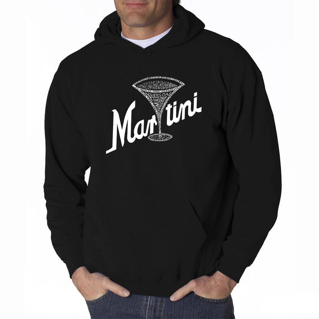 LA Pop Art Men's Word Art Hooded Sweatshirt - Martini
