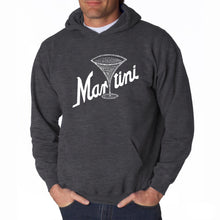 Load image into Gallery viewer, LA Pop Art Men's Word Art Hooded Sweatshirt - Martini
