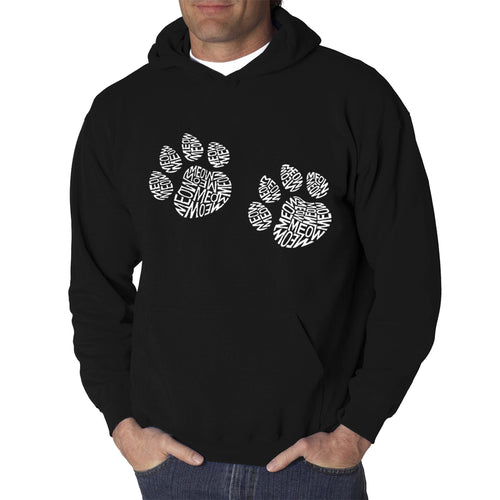 LA Pop Art  Men's Word Art Hooded Sweatshirt - Meow Cat Prints