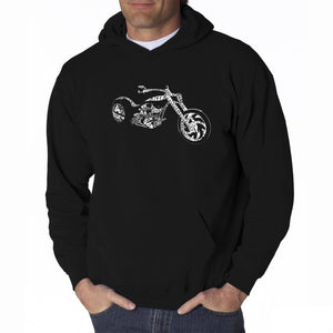 LA Pop Art Men's Word Art Hooded Sweatshirt - MOTORCYCLE