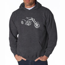 Load image into Gallery viewer, LA Pop Art Men's Word Art Hooded Sweatshirt - MOTORCYCLE