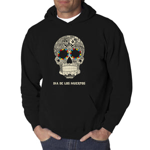 LA Pop Art Men's Word Art Hooded Sweatshirt - Dia De Los Muertos