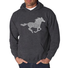 Load image into Gallery viewer, LA Pop Art  Men's Word Art Hooded Sweatshirt - Horse Breeds