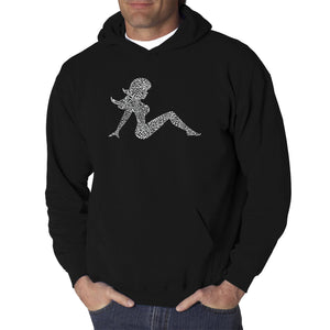 LA Pop Art  Men's Word Art Hooded Sweatshirt - Mudflap Girl - Keep on Truckin