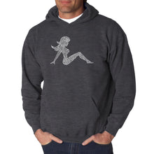 Load image into Gallery viewer, LA Pop Art  Men's Word Art Hooded Sweatshirt - Mudflap Girl - Keep on Truckin