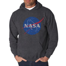 Load image into Gallery viewer, LA Pop Art  Men's Word Art Hooded Sweatshirt - NASA's Most Notable Missions