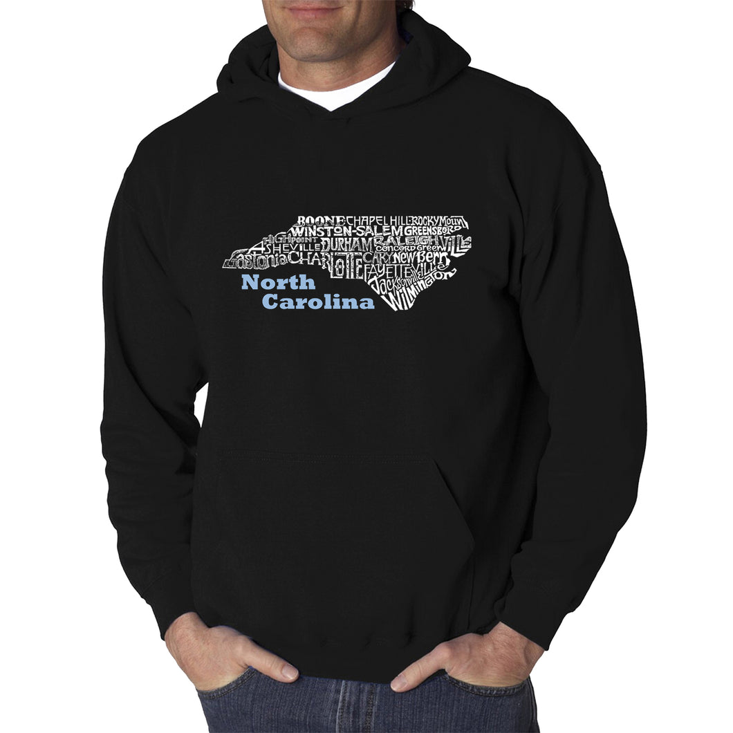 LA Pop Art Men's Word Art Hooded Sweatshirt - North Carolina