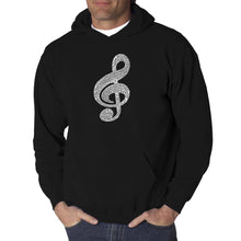 Load image into Gallery viewer, LA Pop Art  Men's Word Art Hooded Sweatshirt - Music Note