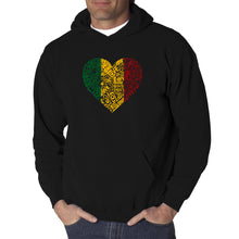 Load image into Gallery viewer, LA Pop Art  Men's Word Art Hooded Sweatshirt - One Love Heart