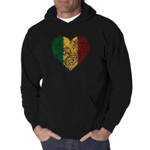 LA Pop Art  Men's Word Art Hooded Sweatshirt - One Love Heart