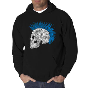 LA Pop Art Men's Word Art Hooded Sweatshirt - Punk Mohawk