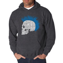 Load image into Gallery viewer, LA Pop Art Men's Word Art Hooded Sweatshirt - Punk Mohawk