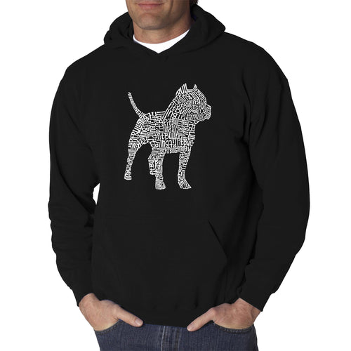 LA Pop Art  Men's Word Art Hooded Sweatshirt - Pitbull