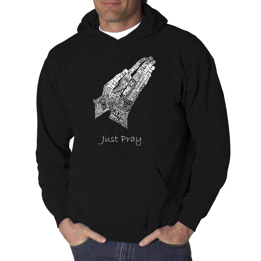 LA Pop Art  Men's Word Art Hooded Sweatshirt - Prayer Hands