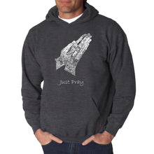 Load image into Gallery viewer, LA Pop Art  Men's Word Art Hooded Sweatshirt - Prayer Hands