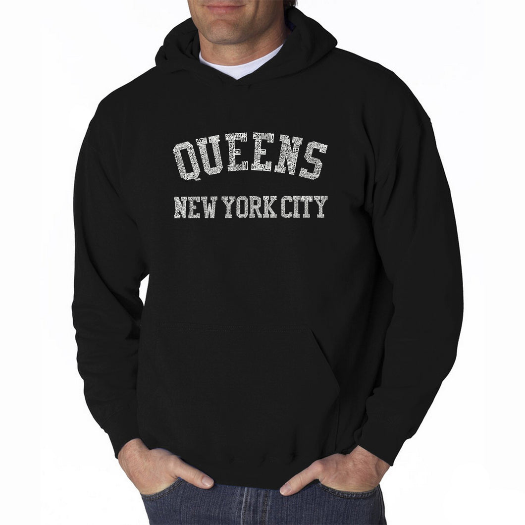 LA Pop Art Men's Word Art Hooded Sweatshirt - POPULAR NEIGHBORHOODS IN QUEENS, NY