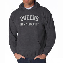 Load image into Gallery viewer, LA Pop Art Men's Word Art Hooded Sweatshirt - POPULAR NEIGHBORHOODS IN QUEENS, NY