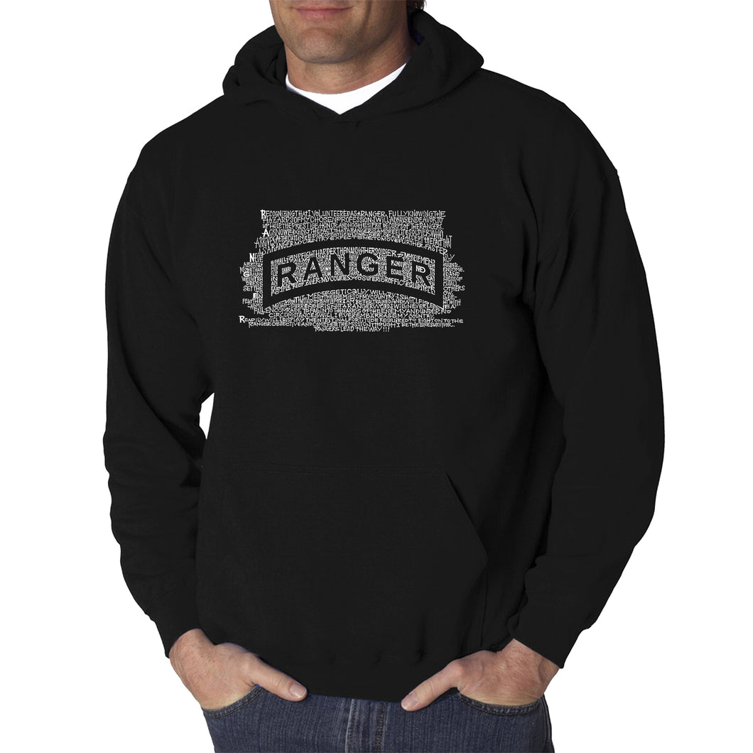 LA Pop Art Men's Word Art Hooded Sweatshirt - The US Ranger Creed