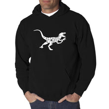 Load image into Gallery viewer, LA Pop Art Men's Word Art Hooded Sweatshirt - Velociraptor