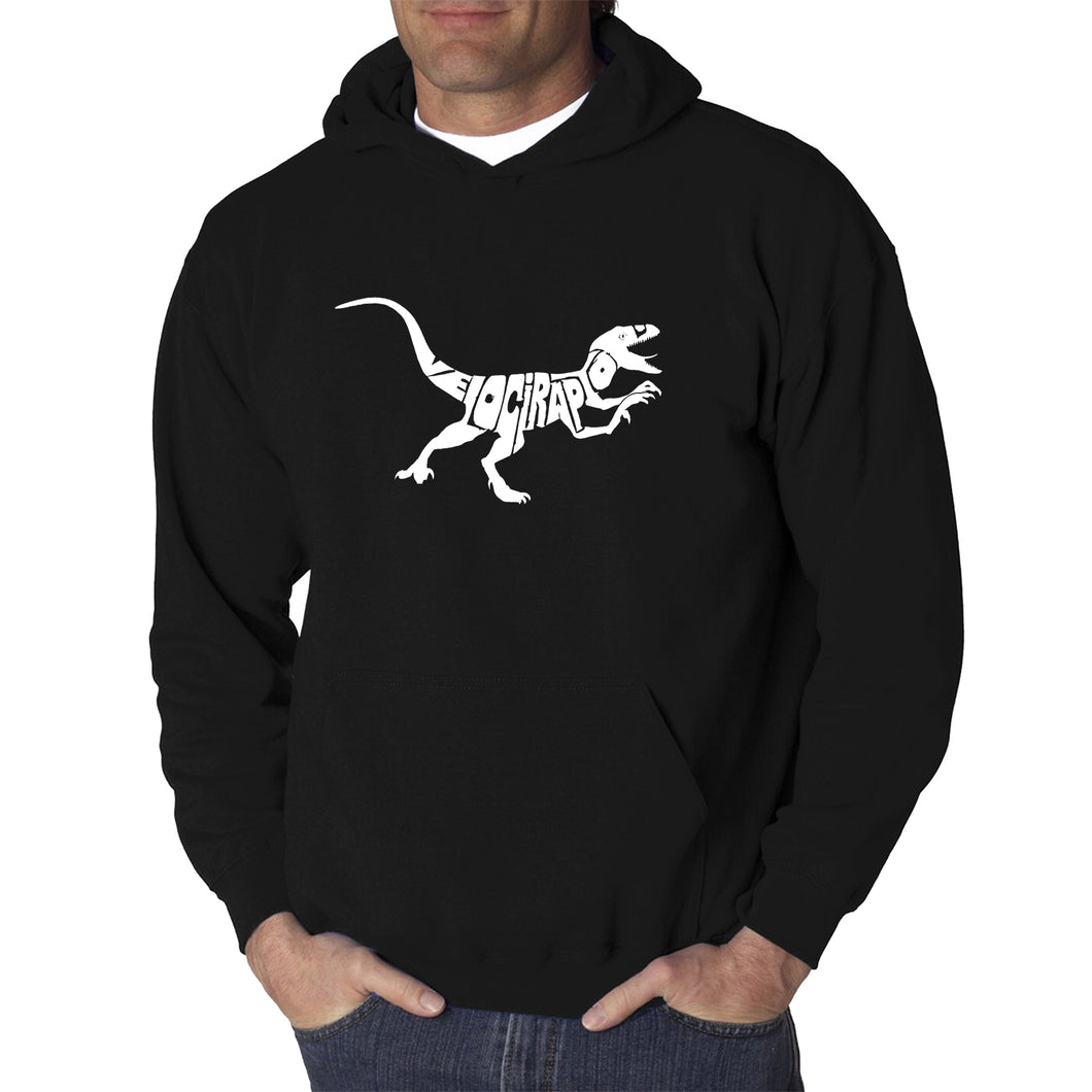 LA Pop Art Men's Word Art Hooded Sweatshirt - Velociraptor