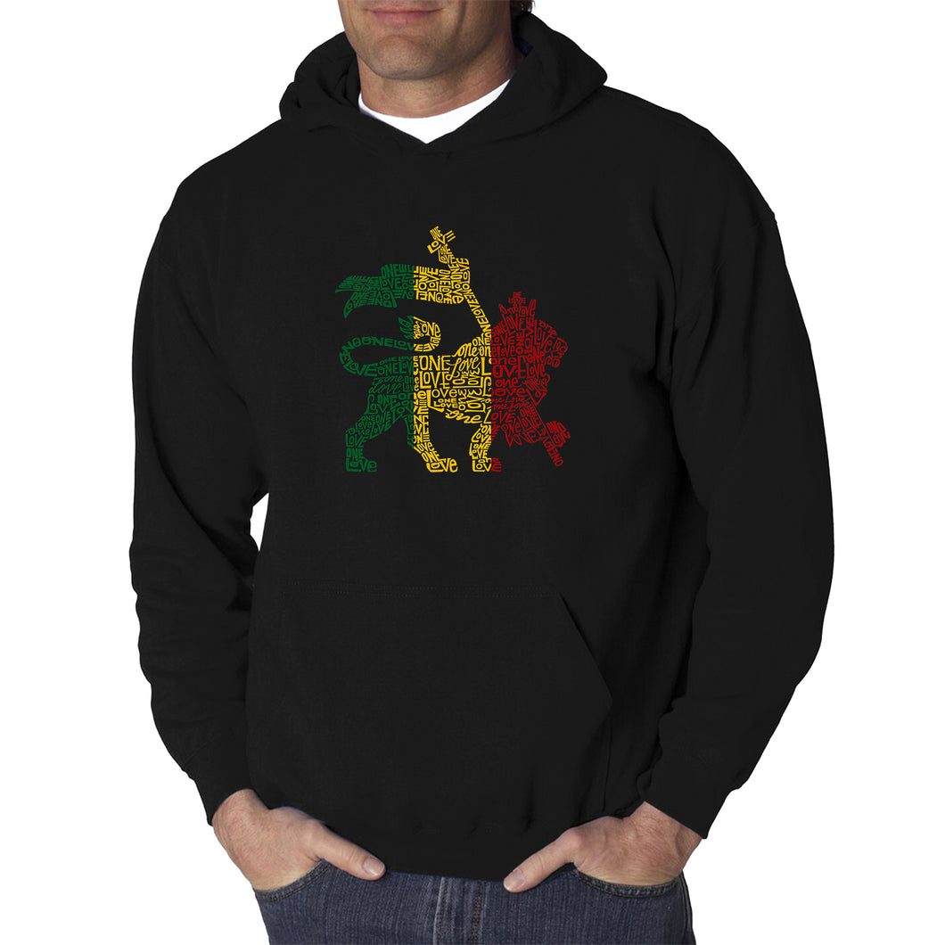 LA Pop Art Men's Word Art Hooded Sweatshirt - Rasta Lion - One Love