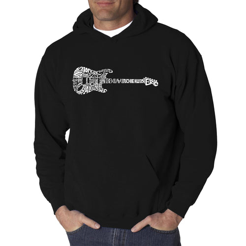 LA Pop Art  Men's Word Art Hooded Sweatshirt - Rock Guitar