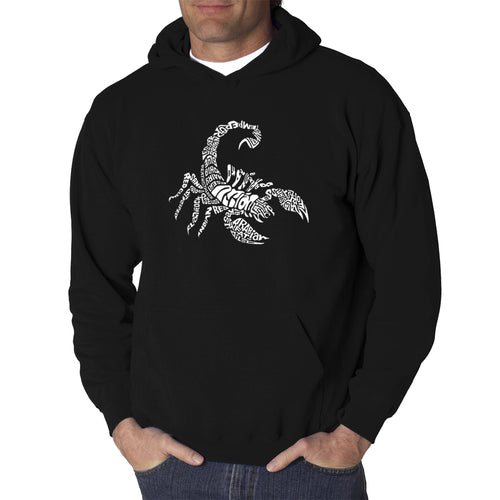 LA Pop Art  Men's Word Art Hooded Sweatshirt - Types of Scorpions
