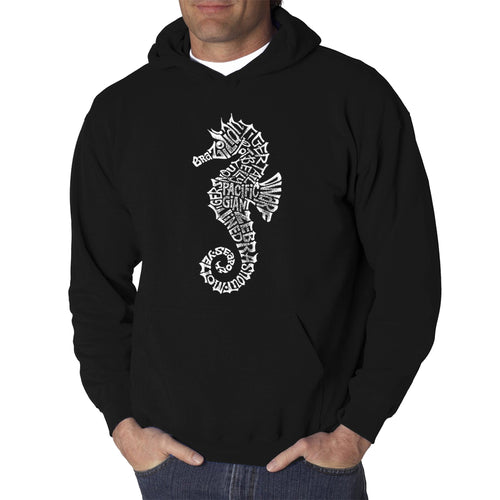 LA Pop Art  Men's Word Art Hooded Sweatshirt - Types of Seahorse