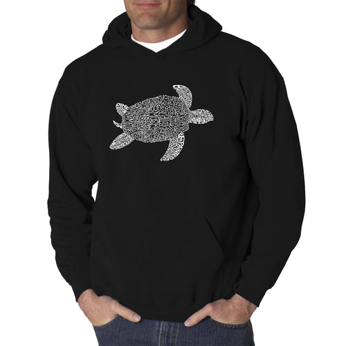 LA Pop Art Men's Word Art Hooded Sweatshirt - Turtle