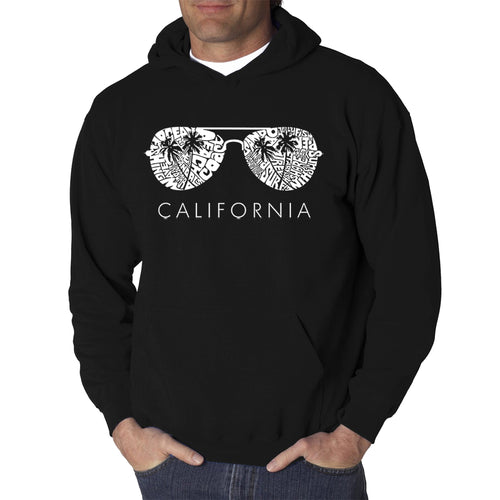 LA Pop Art Men's Word Art Hooded Sweatshirt - California Shades