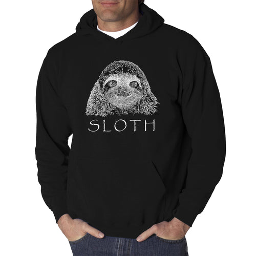LA Pop Art Men's Word Art Hooded Sweatshirt - Sloth