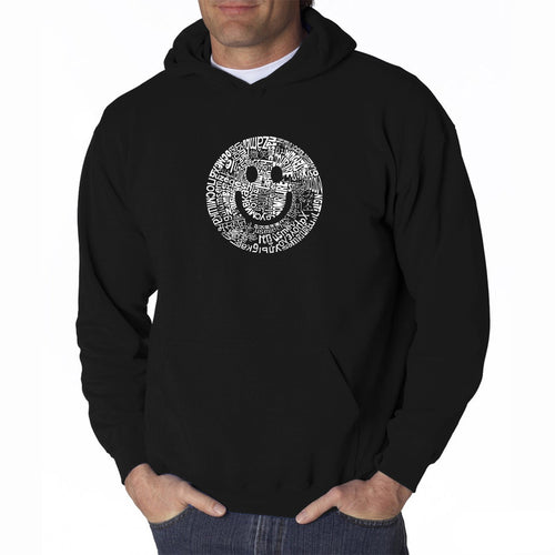 LA Pop Art Men's Word Art Hooded Sweatshirt - SMILE IN DIFFERENT LANGUAGES