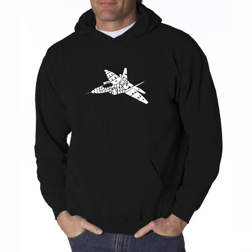 LA Pop Art Men's Word Art Hooded Sweatshirt - FIGHTER JET - NEED FOR SPEED