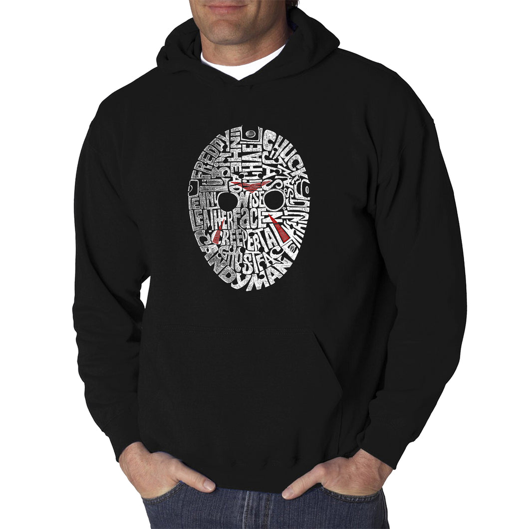 LA Pop Art Men's Word Art Hooded Sweatshirt - Slasher Movie Villians