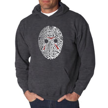 Load image into Gallery viewer, LA Pop Art Men's Word Art Hooded Sweatshirt - Slasher Movie Villians