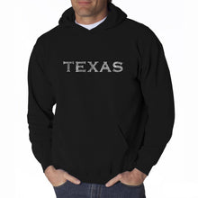Load image into Gallery viewer, LA Pop Art Men's Word Art Hooded Sweatshirt - THE GREAT CITIES OF TEXAS