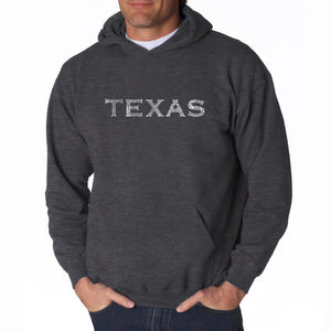 LA Pop Art Men's Word Art Hooded Sweatshirt - THE GREAT CITIES OF TEXAS