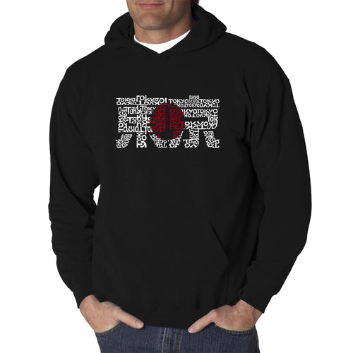 LA Pop Art Men's Word Art Hooded Sweatshirt - Tokyo Sun