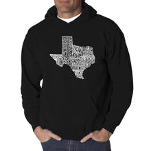 Load image into Gallery viewer, LA Pop Art Men's Word Art Hooded Sweatshirt - The Great State of Texas