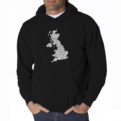 LA Pop Art Men's Word Art Hooded Sweatshirt - GOD SAVE THE QUEEN