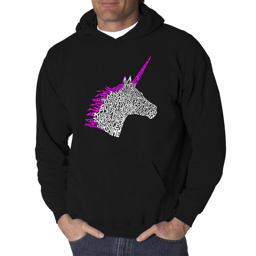 LA Pop Art Men's Word Art Hooded Sweatshirt - Unicorn