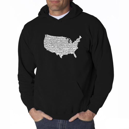 LA Pop Art Men's Word Art Hooded Sweatshirt - THE STAR SPANGLED BANNER