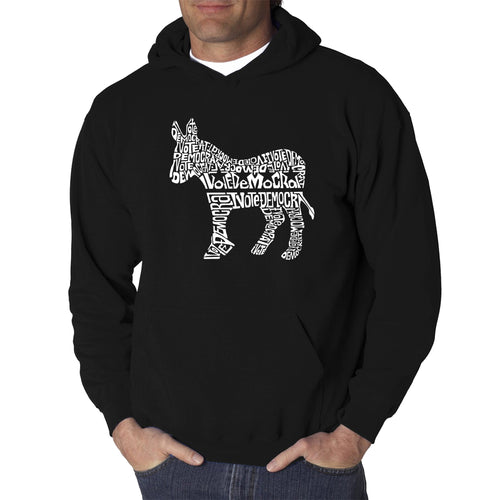 LA Pop Art Men's Word Art Hooded Sweatshirt - I Vote Democrat