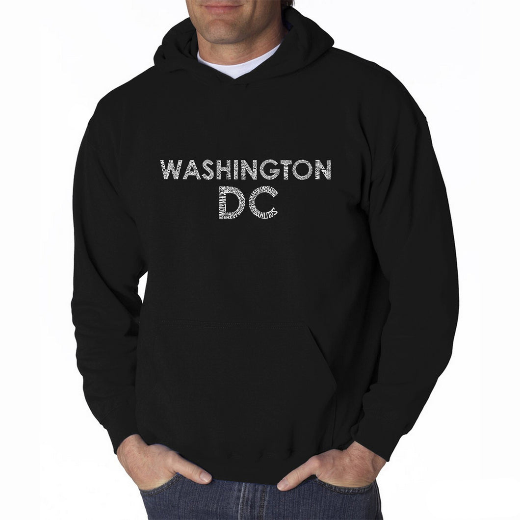 LA Pop Art Men's Word Art Hooded Sweatshirt - WASHINGTON DC NEIGHBORHOODS