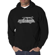 Load image into Gallery viewer, LA Pop Art Men's Word Art Hooded Sweatshirt - Woody - Classic Surf Songs