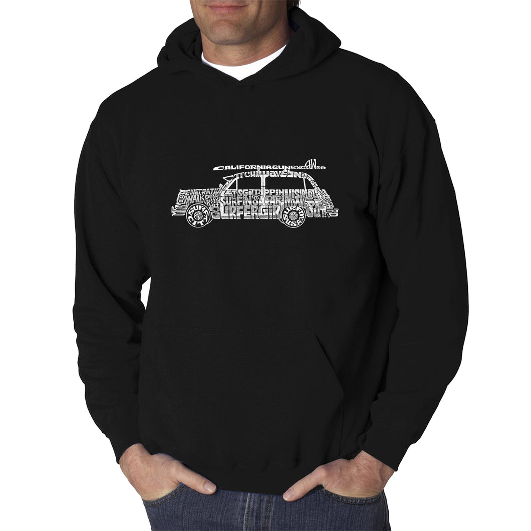 LA Pop Art Men's Word Art Hooded Sweatshirt - Woody - Classic Surf Songs